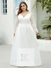 White Plus Size Long A-Line Lace Wedding Bride Dress CLEARANCE - High Quality