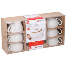 Set 12 Pezzi Per Colazione Cappuccino Tazze e Piattini Porcellana Bianca Alpina