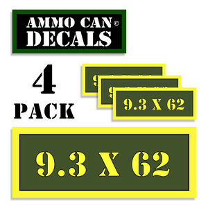 """9.3 x 62 mm Ammo Can 4x Labels Ammunition Case 3""""x1.15"""" sticker decals 4 pack AG"""
