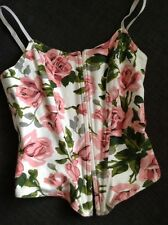 NWOT BETSEY JOHNSON WHITE PINK FLORAL BUSTIER CORSET TOP STRETCH SIZE S