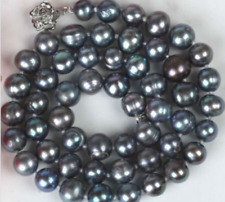 """New Natural 7-8mm Black Color Cultured Freshwater Pearl Necklace 18"""""""