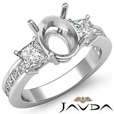Three 3Stone Diamond Wedding Ring 18k White Gold Princess Oval Semi Mount 1.1Ct