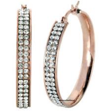 """Pave Set Crystal Hoop Dangle Earrings Stainless Steel Rose Gold 1.6"""""""