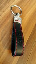 AUDI Keyring Key Chain Car Auto Accessories A3 A4 A6 TT RS BLACK RED Eco Leather