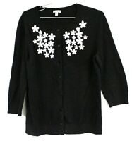 Talbots Womens L Black White Appliqué Embroidered Sweater Cardigan NWOT 3/4 SLVS