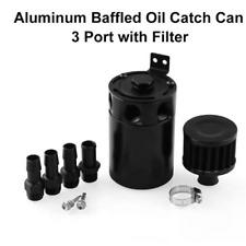 Black Aluminum Oil Catch Reservoir Breather Can Tank +Filter Kit Cylinder Engine