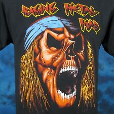 vintage 80s RAGING METAL MAD SKULL PAPER THIN T-Shirt S cartoon skeleton rock