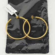 DAVID YURMAN CABLE HOOP EARRINGS. 18K GOLD. LARGE  BRAND NEW!