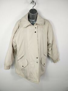 WOMENS CASUAL WOMAN CREAM JACKET COAT PADDED ZIP UP POPPERS  POCKETS SIZE 10