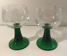 Green Ribbed Stem Wine Goblets Vintage Luminarc France Frosted Grapes Glass