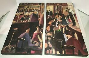 2 Large Jazz Club Music Nightlight Textured Prints Framed