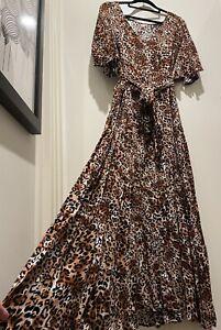 Ladies BoHo Designer Leopard Print Short Sleeve Maxi Dress & Belt-Size XL-NEW