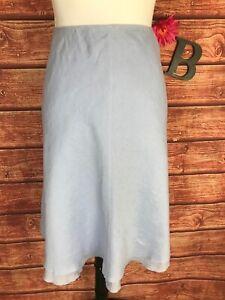 Eileen Fisher Skirt size Large Petite Baby Blue Linen Knee A Line Beach Summer