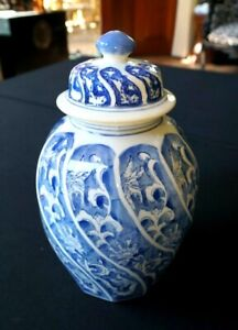 Beautiful Vintage Blue And White Ginger Jar