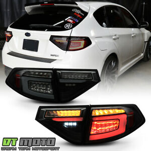 2008-2014 Subaru Impreza WRX Hatchback Black Smoked LED Sequential Tail Lights