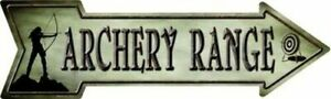 "Archery Range Directional Metal Arrow Sign 17"" x 5"" ↔ Outdoor Hunting Wall Decor"
