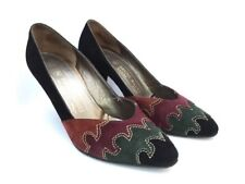 Bruno Magli! Stylish 1980s 'Bruno Magli' suede heels with front panelling