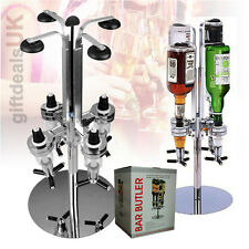 4 ROTARY BOTTLE STEEL BAR BUTLER STAND DRINKS SPIRITS WINE OPTIC DISPENSER PARTY