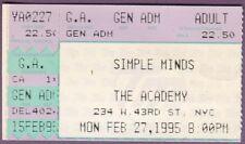 Simple Minds 1995 ticket Stub Original NYC