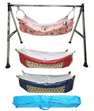 Folding Steel Cradle Square Pipe with Three cotton hammock with mosquito net