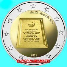 """MALTE 2015  2 EURO Commemorative """"REPUBLIQUE  DE MALTE """"  SUPERBE  !!!!"""
