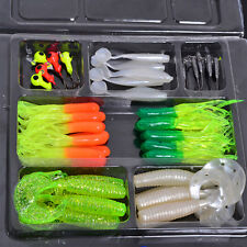 45Pcs Plastic Fishing Lures Set Mixed Soft Bait Holder Jig Assorted Hooks Lure