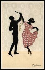 Fasto-Silhouetten * Scherenschnitt TYROLIENNE * Künstlerkarte MARTE GRAF, 1920