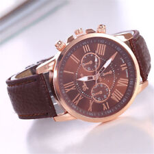 1pcs Coffee Leather Band Women Fashion Stainless Steel Quartz Wrist Watches