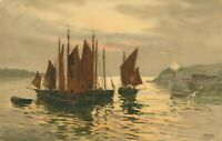 Sailing Boats Barges at Sunset painting postcard (Faulkner Series No 988C) 1910s