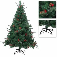 Green Christmas Tree Artificial Bushy Frosted Pines Berries Xmas Home Decor 6Ft