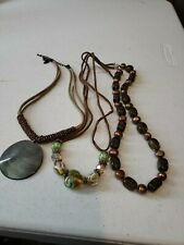 Vintage Jewelry Lot Of 3 Women's Necklaces Leather With Beads Multi-Colors EUC