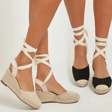 Womens Platfrom Wedge Summer Sandals Ankle Lace Leg Tie Up Flatforms New Size UK