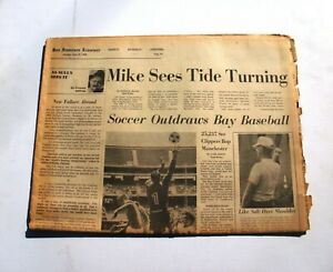 1968 San Francisco Examiner Sports Section Mike McCormick + Soccer Outdraws MLB