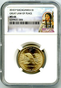 2010 P SACAGAWEA $1 DOLLAR NGC MS66 RD GREAT LAW OF PEACE NATIVE AMERICAN