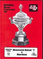 1974/75 NEWCASTLE UNITED V ABERDEEN 02-10-1974 Texaco Cup Quarter-Final 2nd Leg