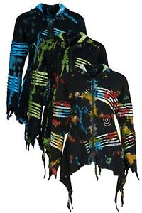 Tie dye pixie hooded jacket with embroidery