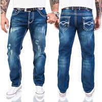 Rock Creek Herren Designer Jeans HOSE Blau dicke NAHT VintageW29-W44 RC-2056 NEU