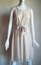 CATHERINE MALANDRINO Silver Cord CHANTILLY Lace Party Cocktail MOB Dress 2