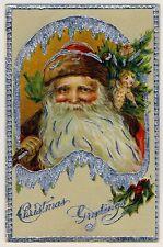 Weihnachten SANTA w DOLL / WEIHNACHTSMANN m PUPPE X-Mas * Vintage 1920s PC