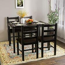 5 Pieces Kitchen Dining Table Set Pine Wood Table w/ 4 Pu Leather Chairs Black