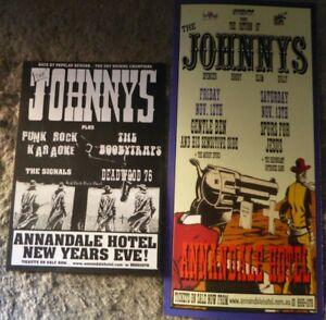 The Johnnys 2 x original flyers Spencer P Jones  20cm x 10cm