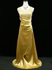 Cherlone Gold Full Length Party Ballgown Wedding Bridesmaids Evening Dress 8