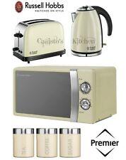 Russell Hobbs Kettle and Toaster Set + Microwave & Cream Tea Coffee Sugar Set