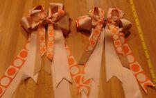 Equestrian Horse Show Hair Bows W/ French Clip Beige and Orange Print Ribbon