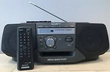 Vintage Sony Cd Radio Cassette Recorder With Remote Mega Bass Cfd-V25 Black