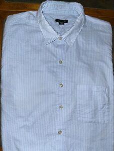 Mens Van Heusen Short Sleeve Blue Button Front Shirt Size XLT 17 1/2 - 18 - EUC