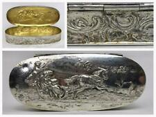 Antique Dutch European Victorian Silver Vermeil Repousse Snuff Trinket Chest Box