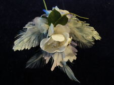 """Vintage Millinery Flower Collection 1 -7"""" Blue White w/Feathers H2108"""