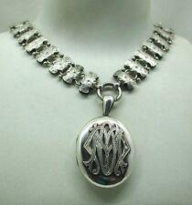 Superb Rare Victorian Heavy Solid Silver Collarette Necklace And Locket