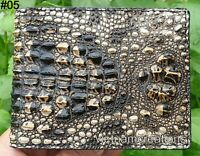 Genuine Alligator Crocodile Leather Skin Men Bifold Wallet Brown Handmade RFID .